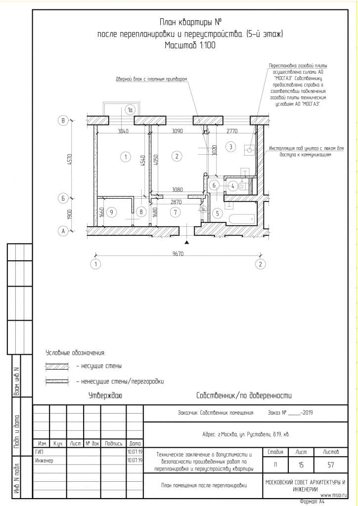План квартиры после перепланировки ТЗ по факту
