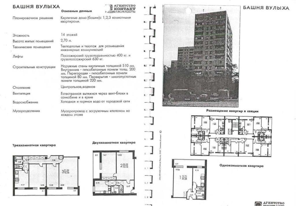 Каталог типовых планировок серии башня Вулыха