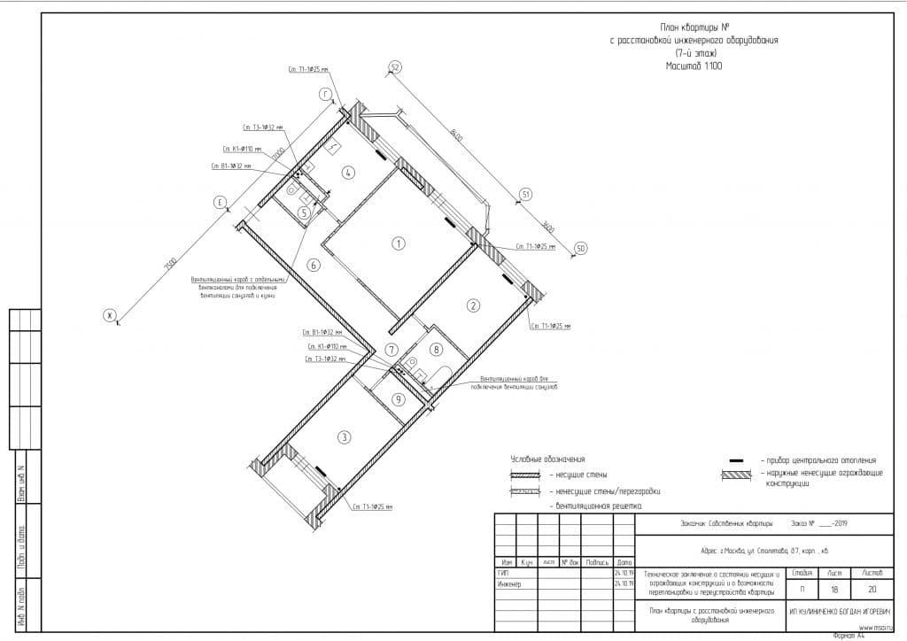 План квартиры по результатам осбледования инженерного оборудования