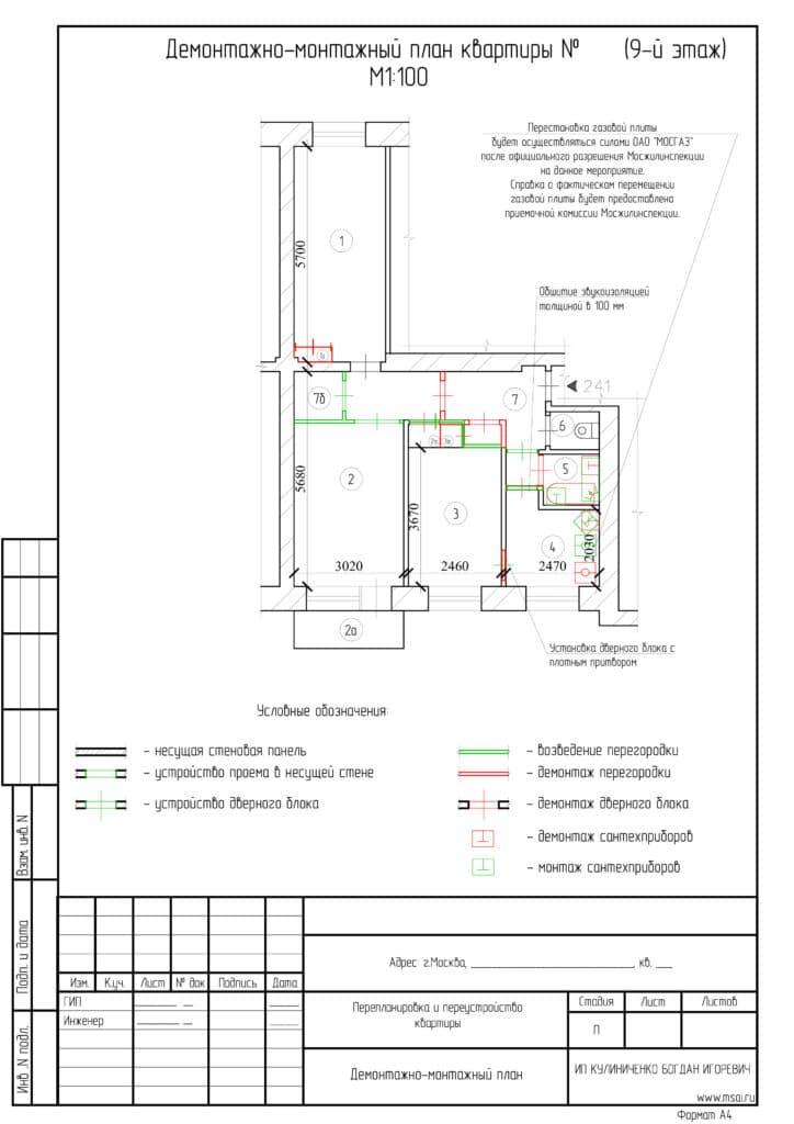 Перепланировка трехкомнатной квартиры серии II-29 3