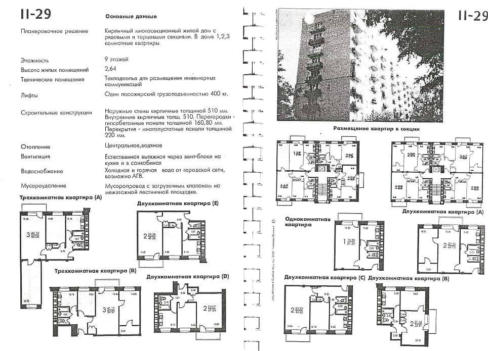 Типовой каталог планировок квартир серии II-29